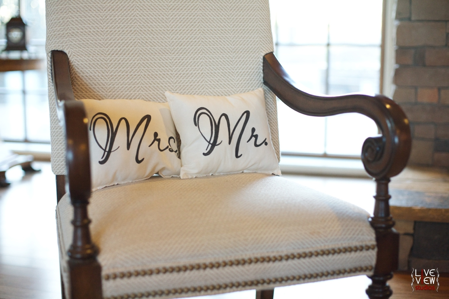 mrs. and mr. pillows, rustic wedding decor, raleigh nc winter wedding photography