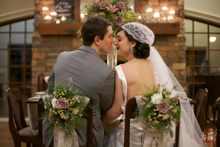 bride and groom at the reception, romantic 20s inspired wedding portraits