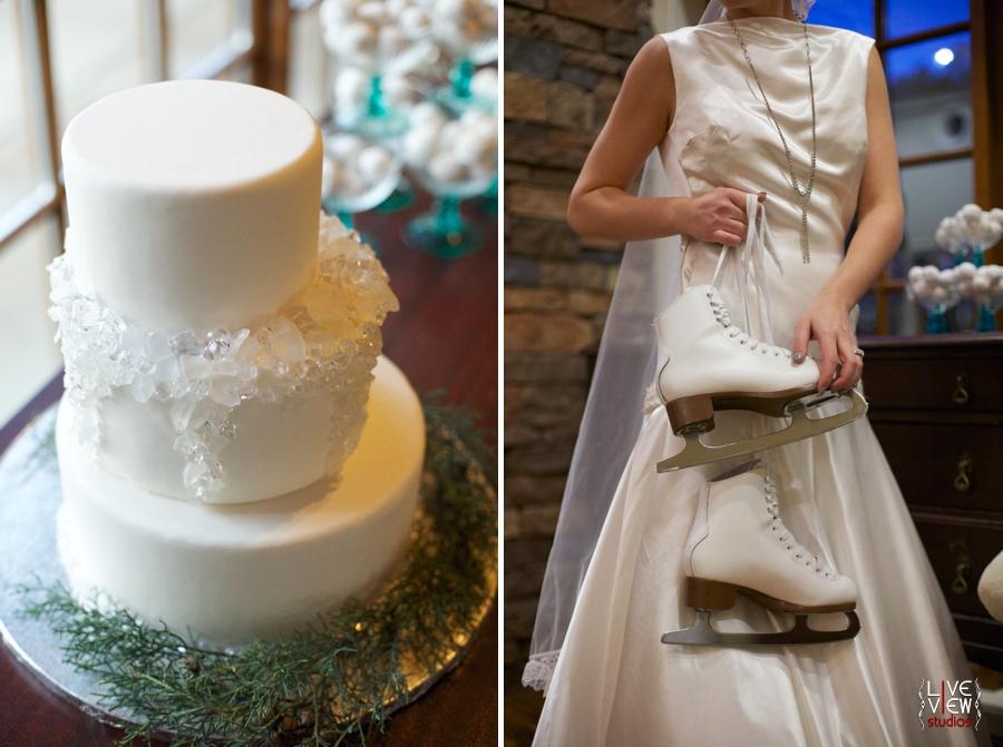 wintery wedding cake, bride holding ice skates, winter inspired wedding photography