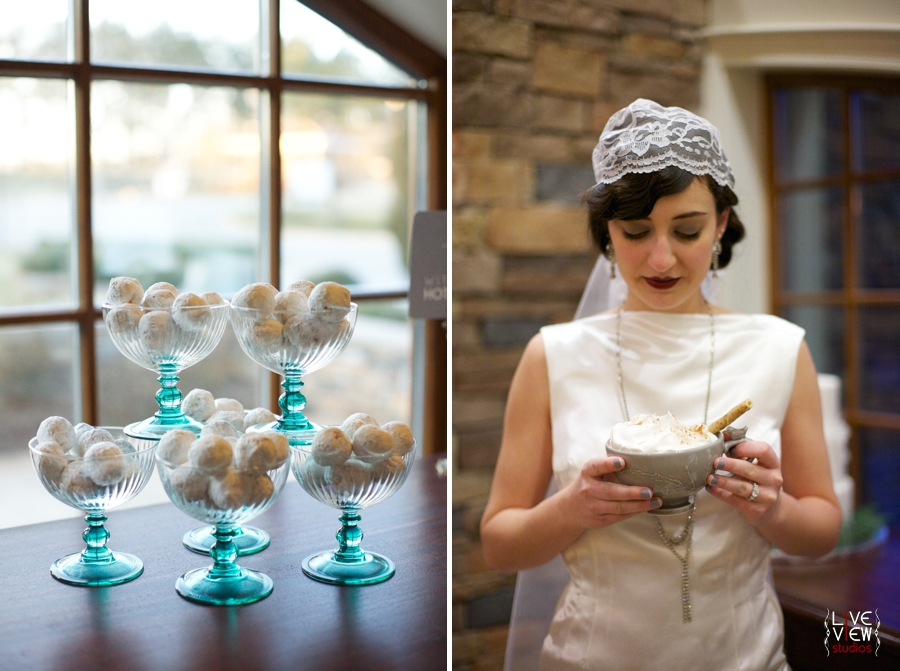 little pastries covered in powdered sugar, winter themed wedding reception ideas, bride holding a mug of hot cocoa