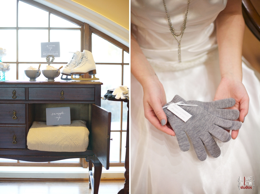 intimate winter wedding reception inspiration, bride holding out a pair of grey gloves
