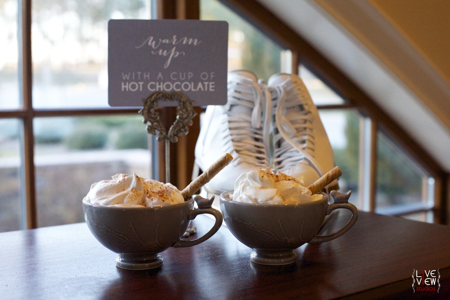 mugs of hot chocolate topped with whipped cream, intimate winter wedding reception inspiration