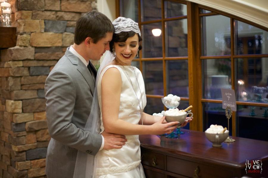 romantic wedding portraits, intimate winter wedding reception photography