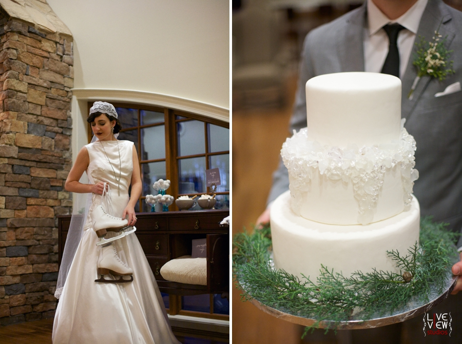 bride holing ice skates, groom carrying winter themed wedding cake