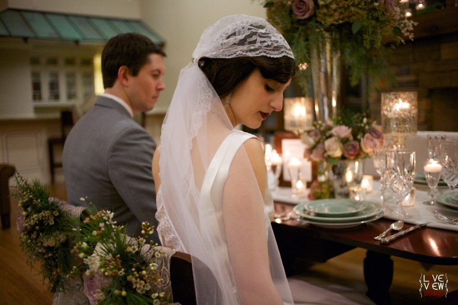 vintage cap veil from Petals by KC, 20's inspired winter wedding photography
