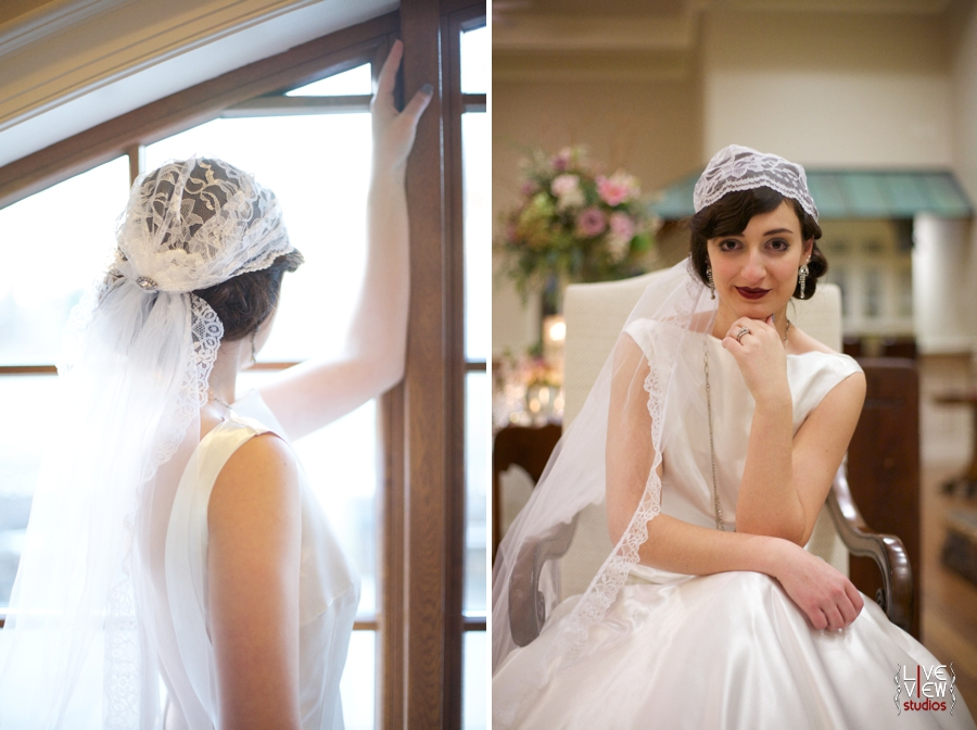 vintage cap veil from Petals by KC, bridal hair and make up by Karen Michelle Clark, 20's inspired winter wedding photography