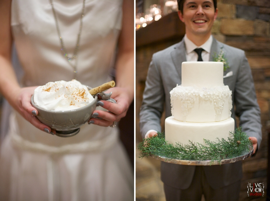 mug of hot chocolate with whipped cream and a pirouline wafer, groom carrying the wedding cake