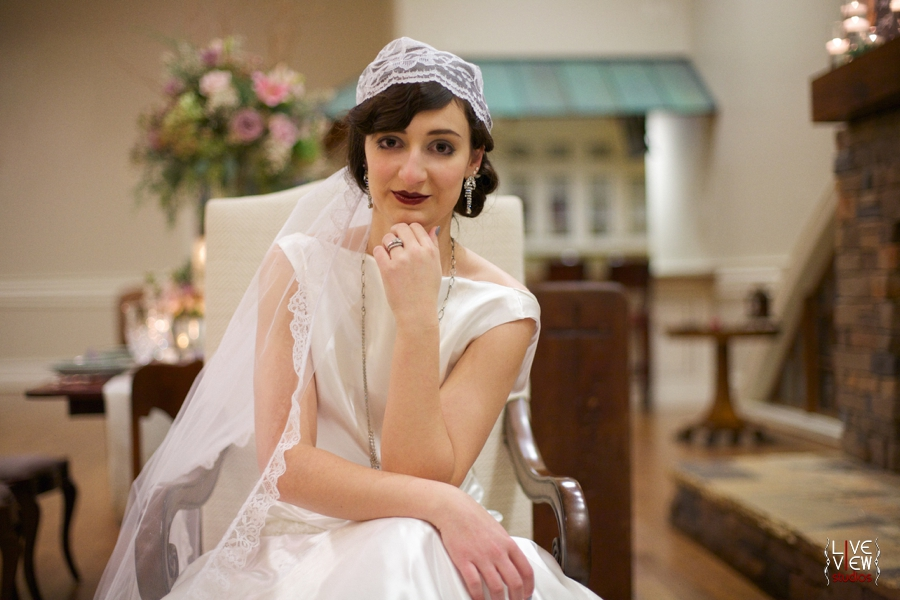 bride's 20s inspired hair and make up done by Karen Michelle Clark, 1920s inspired wedding photography