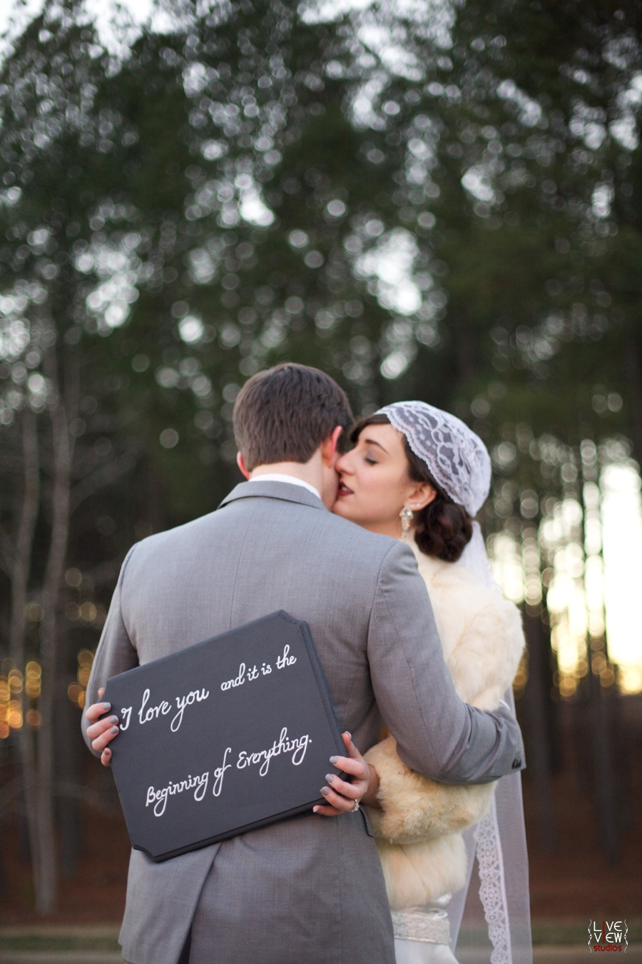 """""""I love you and it is the beginning of everything"""" sign from Raindrops on Roses Boutique, roaring twenties inspired wedding photography"""