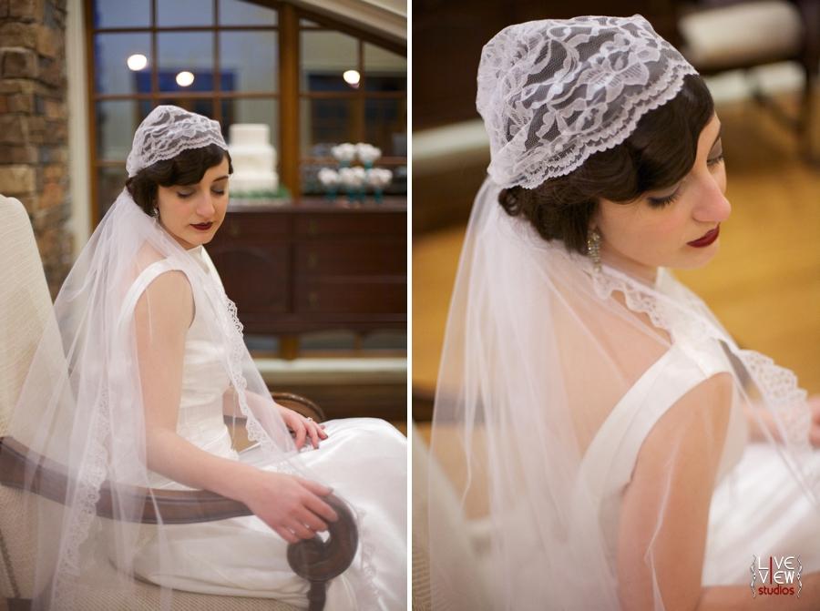bride wearing vintage cap veil, hair and make up by Karen Michelle Clark