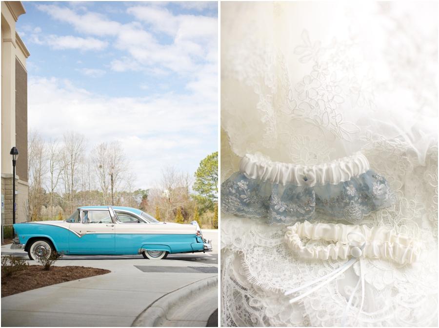 blue vintage ford, vintage car photography, bride's lacy garter