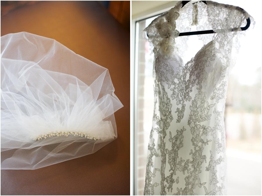 short bridal veil, intricate wedding dress from carolina bridal