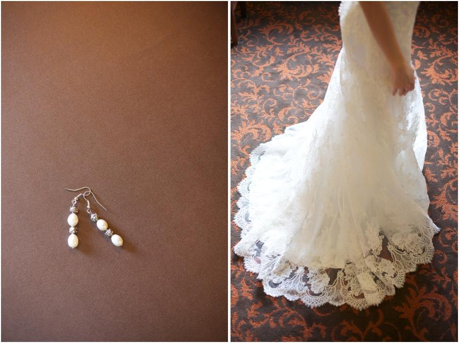 elegant bridal earrings, beautiful lace wedding dress from carolina bridal