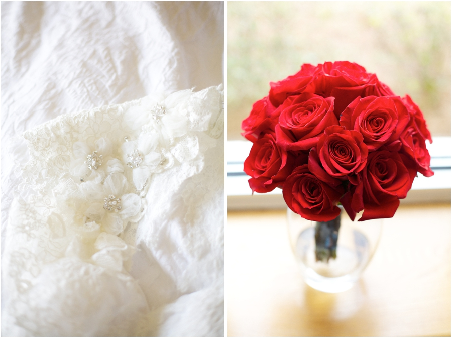 intricate flower details on lace wedding dress from carolina bridal, bridal bouquet with fresh red roses