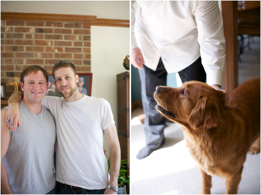 groom and best man before the wedding, raleigh nc pet photographers