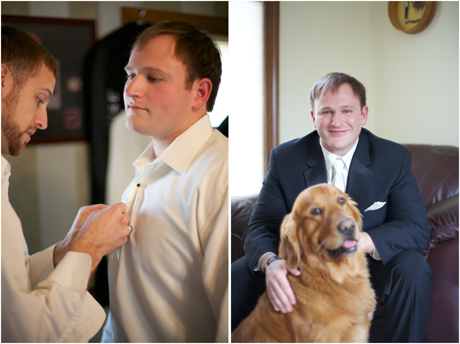 best man helping the groom get ready, groom with his dog named bear