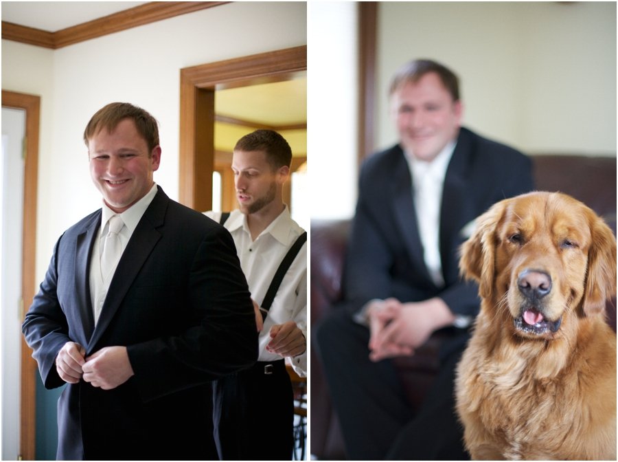groom before the wedding, groom and his pet dog named bear