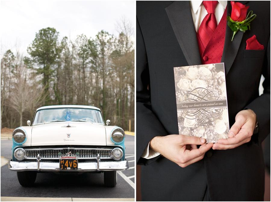 classic car photography, best man holding wedding program