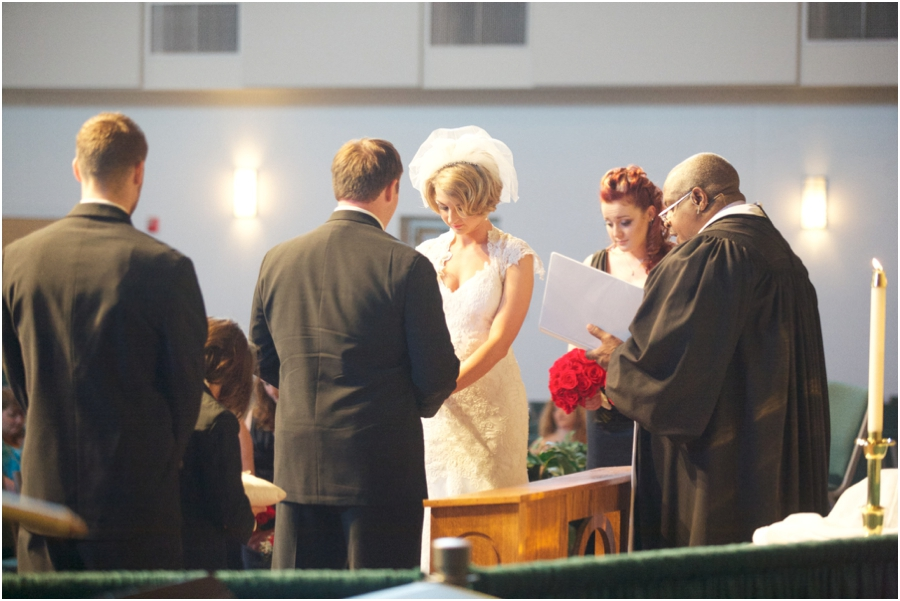 bride and groom at the alter, fuquay varina wedding photography