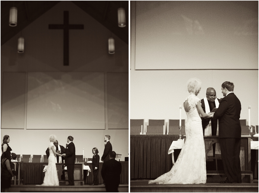bride and groom making their vows at the alter, vintage wedding photographers, raleigh nc