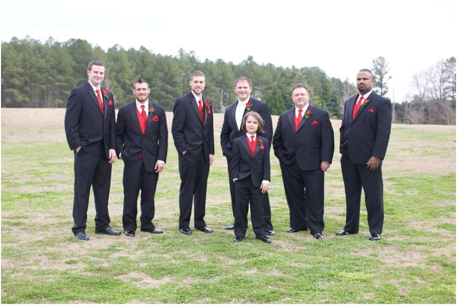 groomsmen in black suits and red ties, highgrove wedding