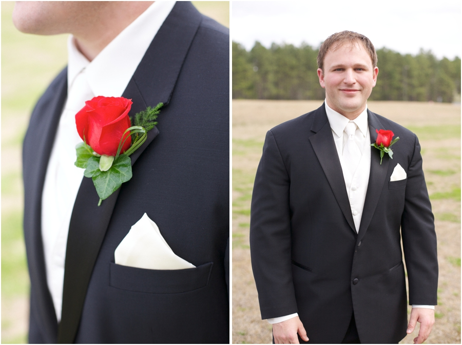 groom's fresh red rose boutonniere, grooms portrait photography