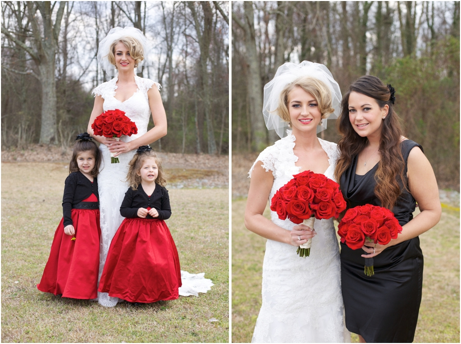bride with cute flowergirls, bride and bridesmaid, southern wedding photography
