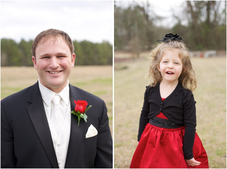 groom in black suit, white tie, and red rose boutonniere, elegant wedding photography