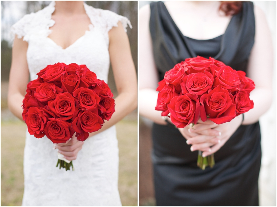 fresh red rose bridal bouquet, southern wedding photographers