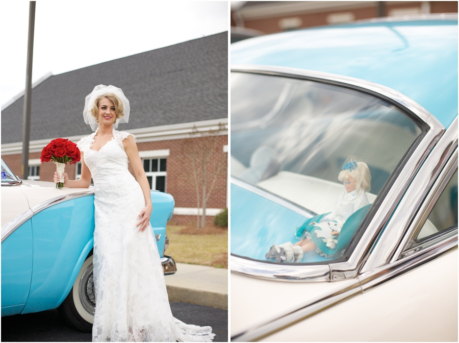 bride with a light blue vintage ford, doll in the back of a vintage ford