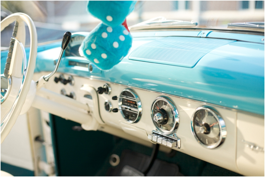 interior of light blue vintage ford