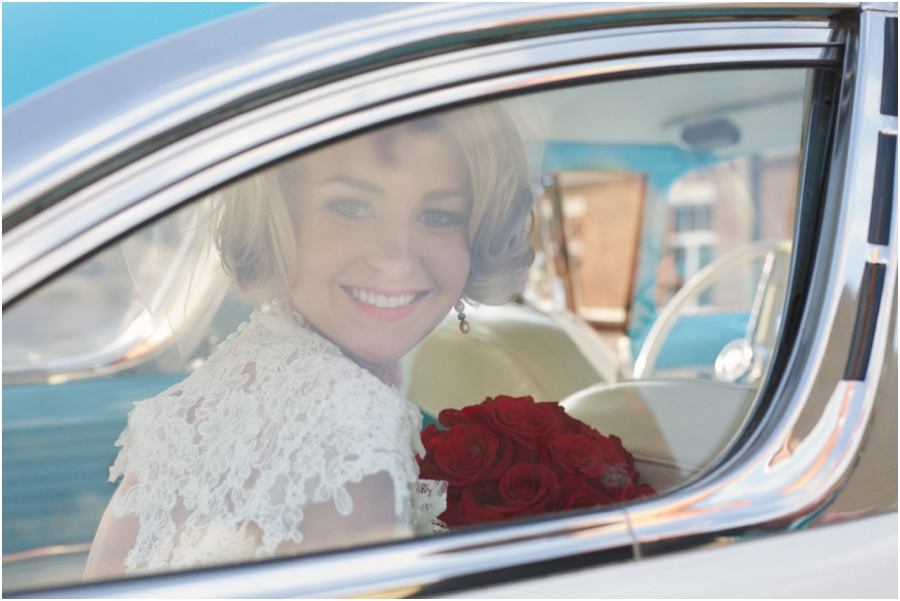 bride in vintage ford, southern bridal portrait photography