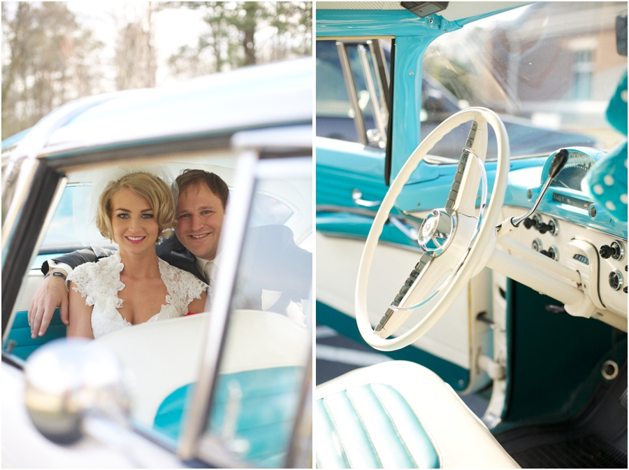 newly married couple in vintage ford, interior of light blue vintage ford