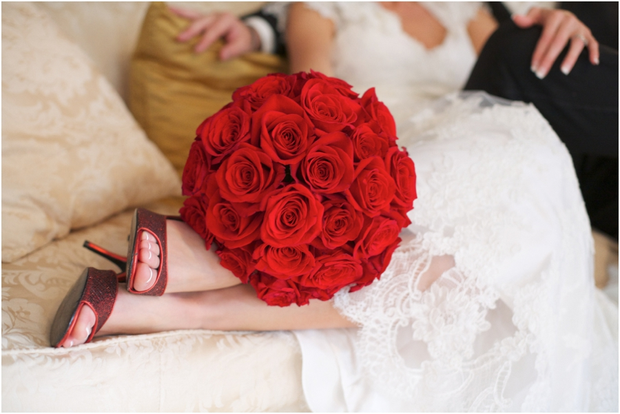 elegant red rose bridal bouquet, southern wedding photography
