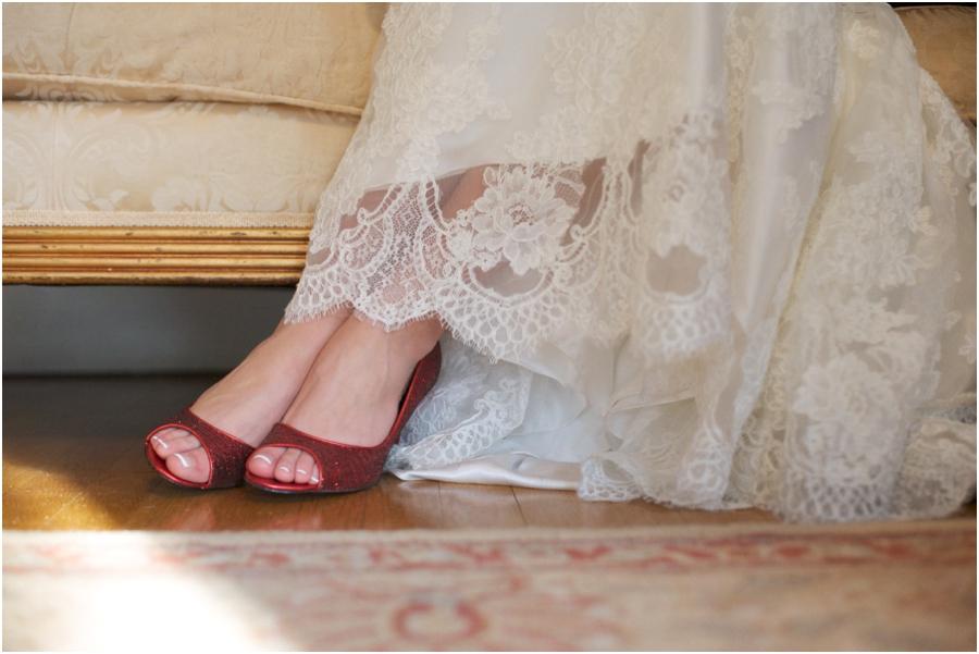 bride wearing red peep-toe heels, vintage wedding photographers
