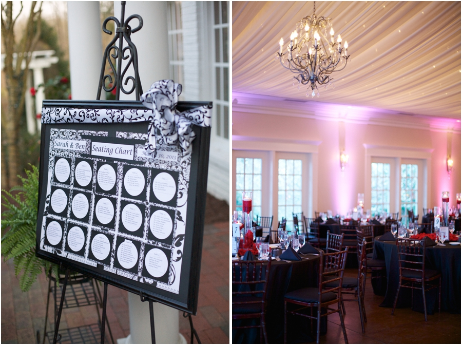 seating chart and elegant table settings at high grove wedding reception