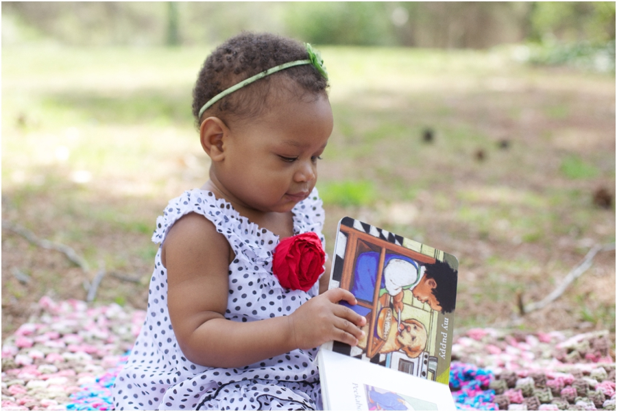 baby girl reading a book,  southern baby photography