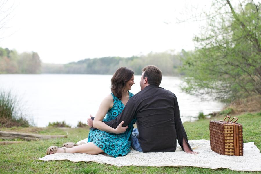 vintage picnic engagement, romantic engagement photography