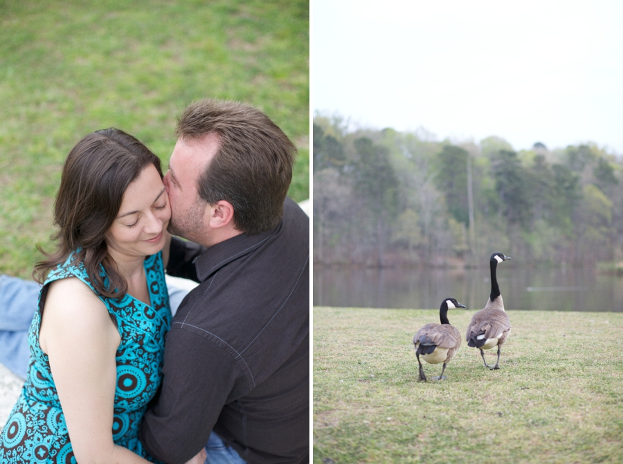 romantic engagement photography, ducks by the water
