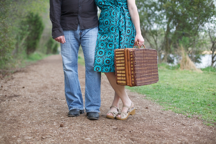 vintage picnic engagement, southern couples photography