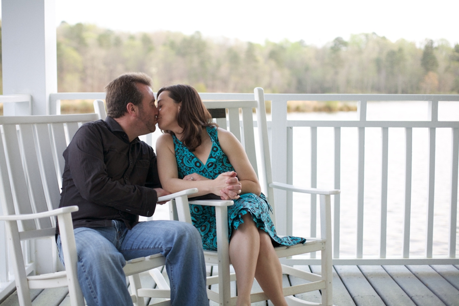 waterside kiss, lakefront engagement photography