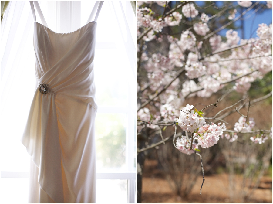 beautiful bridal gown from Unbridaled, cherry blossoms