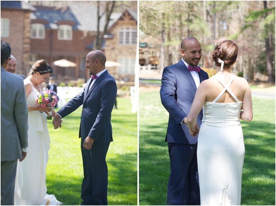 bride and groom's first look, southern wedding photography