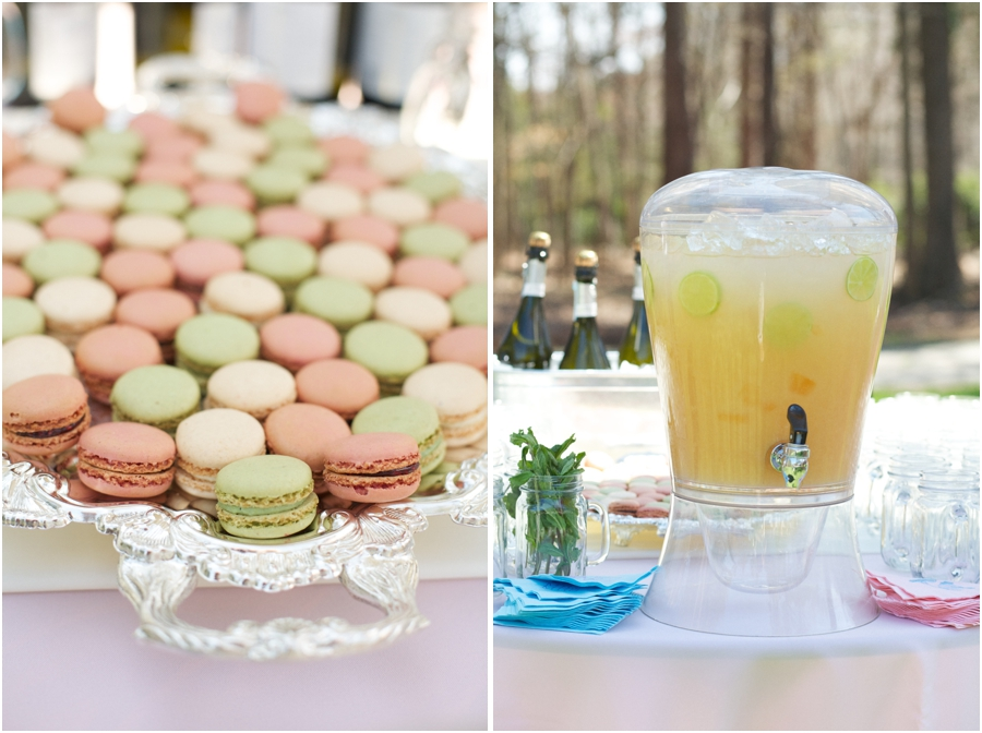 colorful macaroons and mint-topped grapefruit juice with champagne at outdoor wedding reception