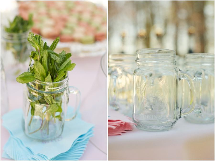 mint sprigs in a glass mason jar, southern backyard wedding reception