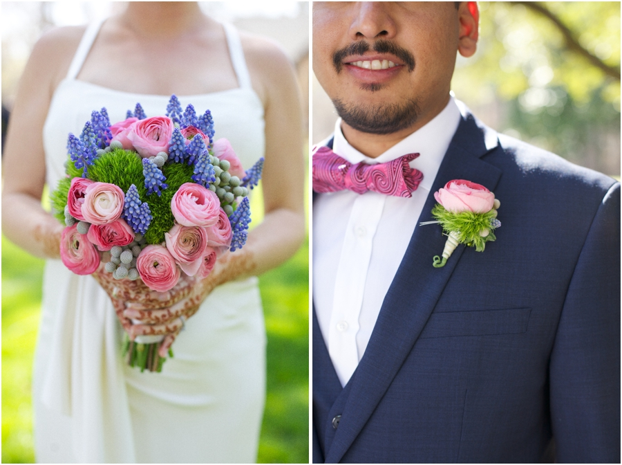 blush pink, lavender, and mint green bridal bouquet and boutonniere