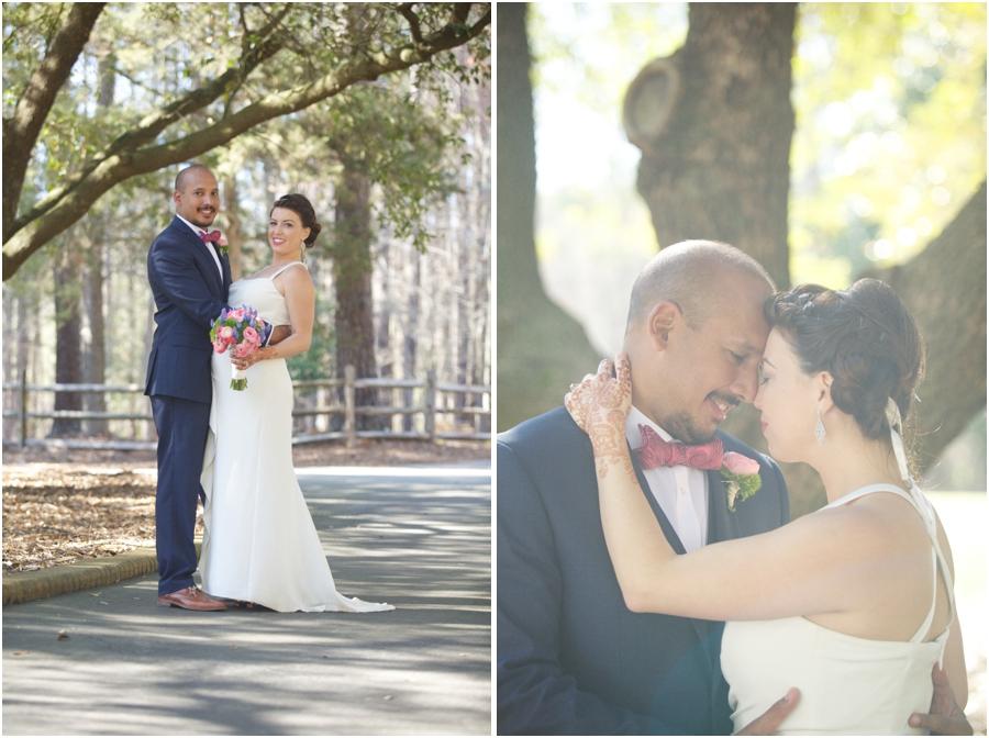 sunlit wedding portraits, raleigh nc rustic wedding photographers