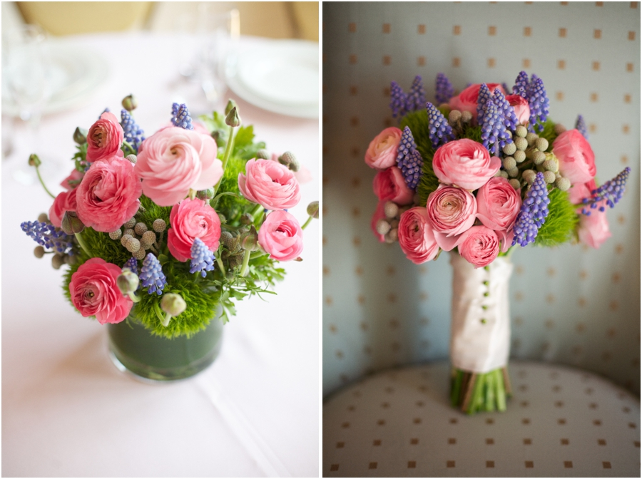 blush pink, lavender, and mint green fresh floral centerpiece and bridal bouquet from A Ming Rose Florist