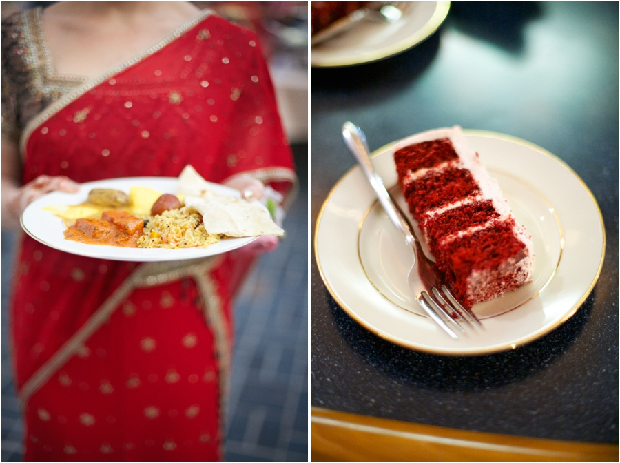 guest holding a plate of traditional indian foods, a slice of red velvet wedding cake