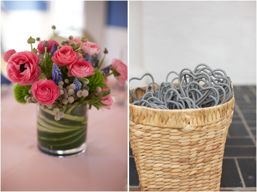 fresh floral centerpieces, heart-shaped sparklers as wedding favors